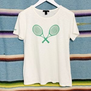 J Crew • Tennis Racquet Graphic Tee Shirt White S